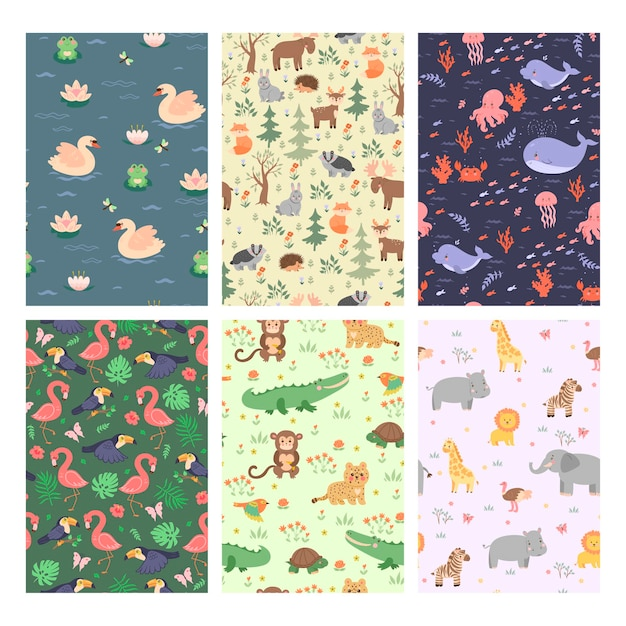 Conjunto de padrões sem emenda com animais fofos.