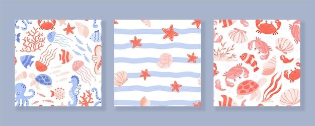 Conjunto de padrões sem emenda com animais marinhos e oceânicos, corais e conchas.