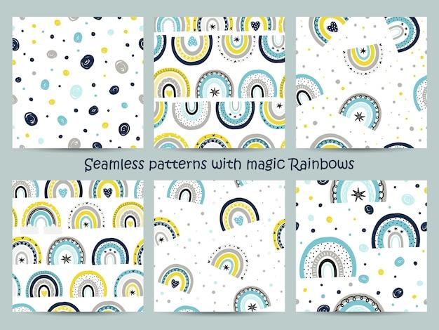 Conjunto de padrões sem emenda com arco-íris mágicos