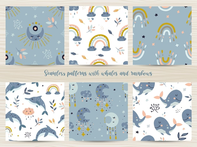 Conjunto de padrões sem emenda com baleias e arco-íris. ilustração para papel de embrulho e scrapbooking