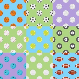 Conjunto de padrões sem emenda com bolas de esportes.