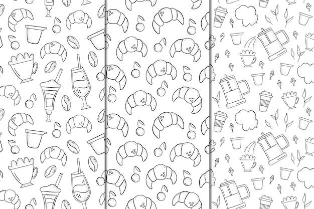Conjunto de padrões sem emenda com café e sobremesas. estilo desenhado de mão