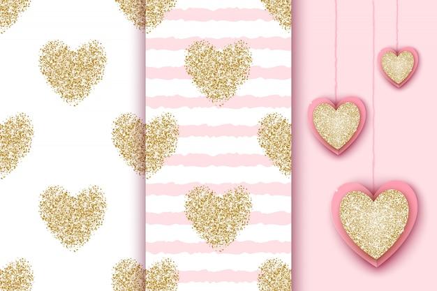 Conjunto de padrões sem emenda com corações brilhantes dourados sobre fundo listra branca e rosa, ícones de coração realista para o feriado do dia dos namorados, aniversário, chá de bebê.