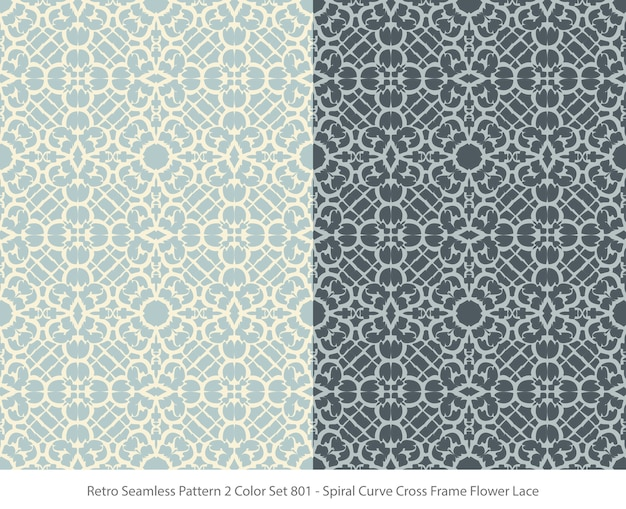 Conjunto de padrões sem emenda com curve frame flower lace