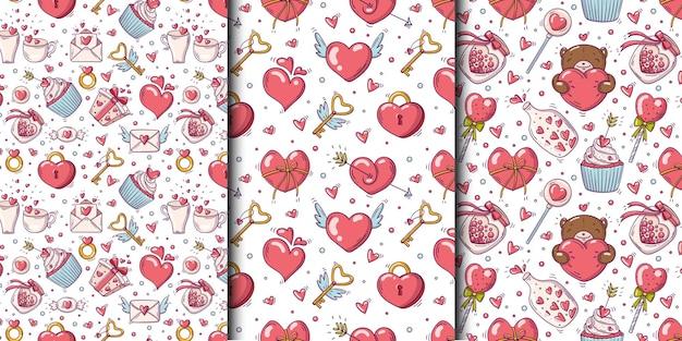 Conjunto de padrões sem emenda com dia dos namorados e objetos de amor em estilo doodle