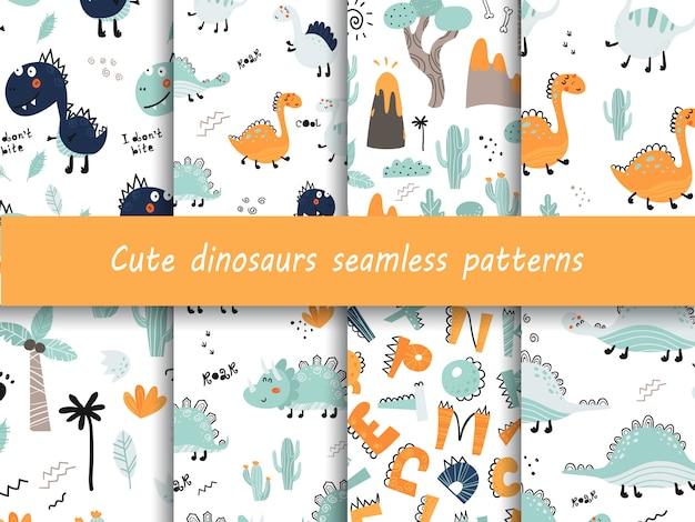 Conjunto de padrões sem emenda com dinossauros bonitinho.