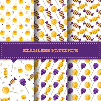 Conjunto de padrões sem emenda com doces dos desenhos animados.