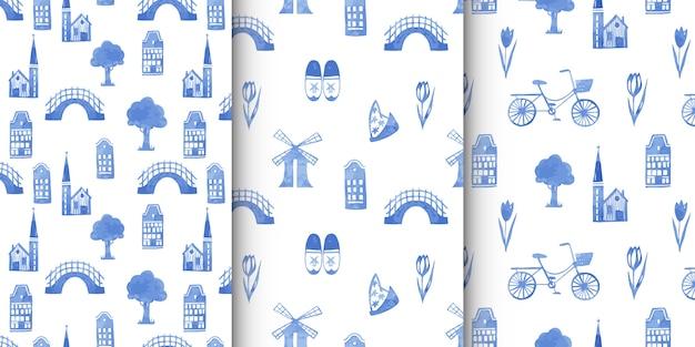 Conjunto de padrões sem emenda com elementos do norte da holanda e decorações