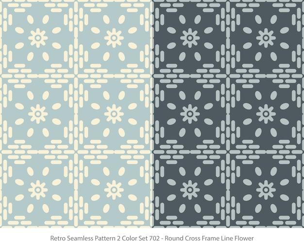 Conjunto de padrões sem emenda com flor de moldura redonda