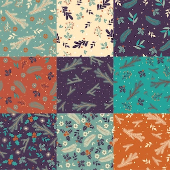 Conjunto de padrões sem emenda com flora de inverno.