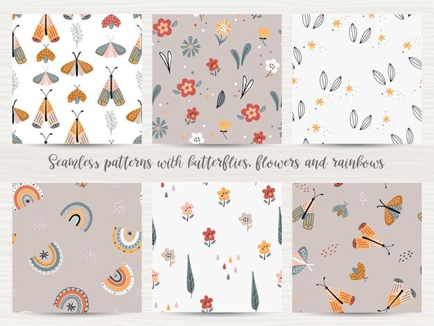 Conjunto de padrões sem emenda com flores, arco-íris e borboletas.