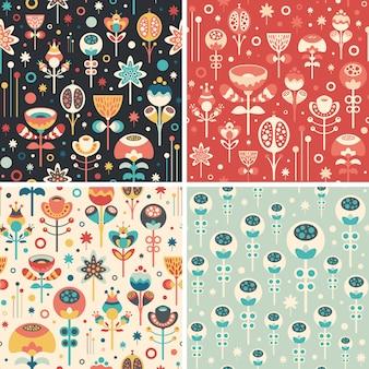 Conjunto de padrões sem emenda com flores de natal.