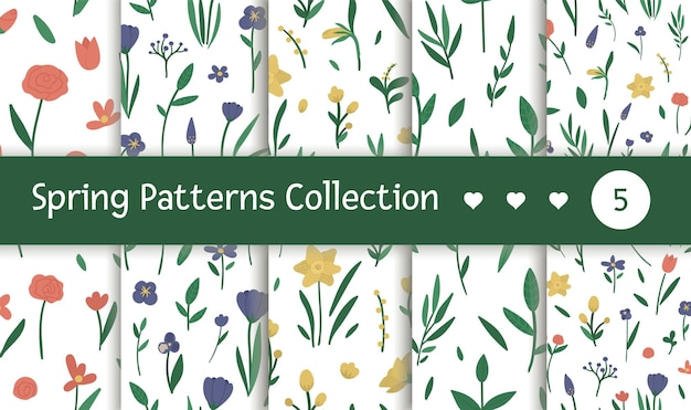 Conjunto de padrões sem emenda com flores diferentes