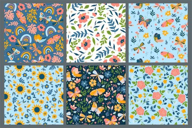 Conjunto de padrões sem emenda com flores e borboletas