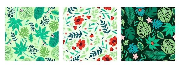 Conjunto de padrões sem emenda com flores e folhas tropicais.