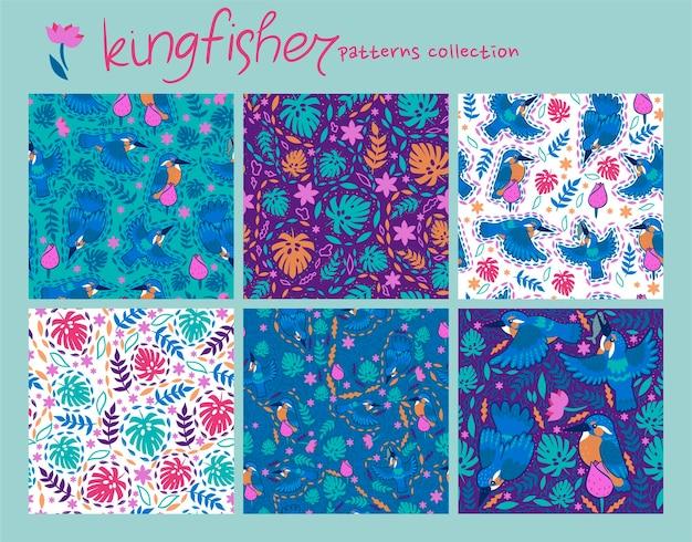 Conjunto de padrões sem emenda com folhas tropicais e martins-pescadores