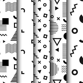Conjunto de padrões sem emenda com formas geométricas