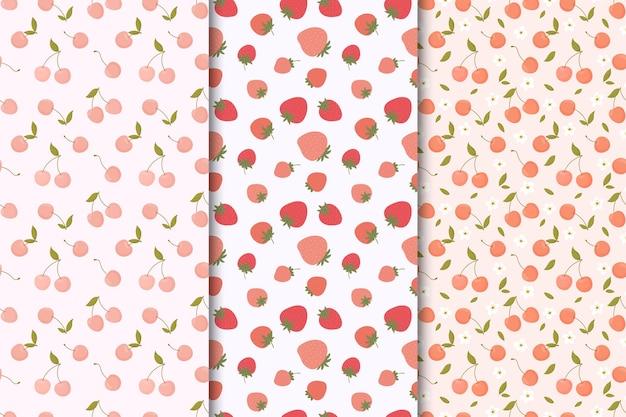 Conjunto de padrões sem emenda com frutas de verão