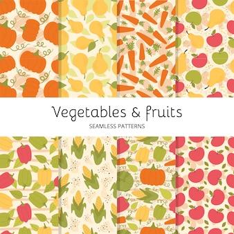 Conjunto de padrões sem emenda com frutas e vegetais bonitos