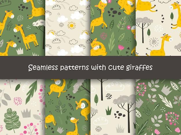 Conjunto de padrões sem emenda com girafas e plantas.