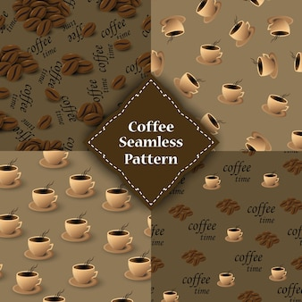 Conjunto de padrões sem emenda com grãos e xícaras de café.