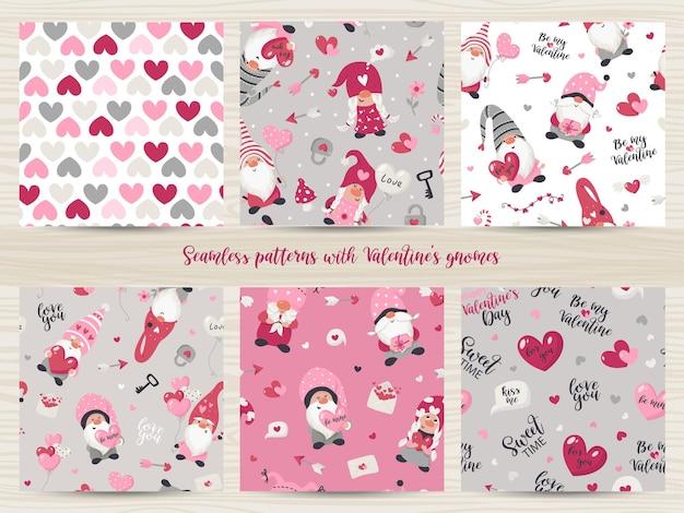 Conjunto de padrões sem emenda com ilustração de gnomos do dia dos namorados