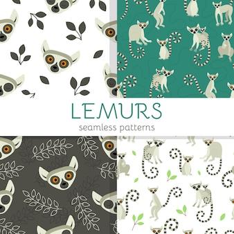 Conjunto de padrões sem emenda com lêmures animais fofos exóticos de madagascar e da áfrica