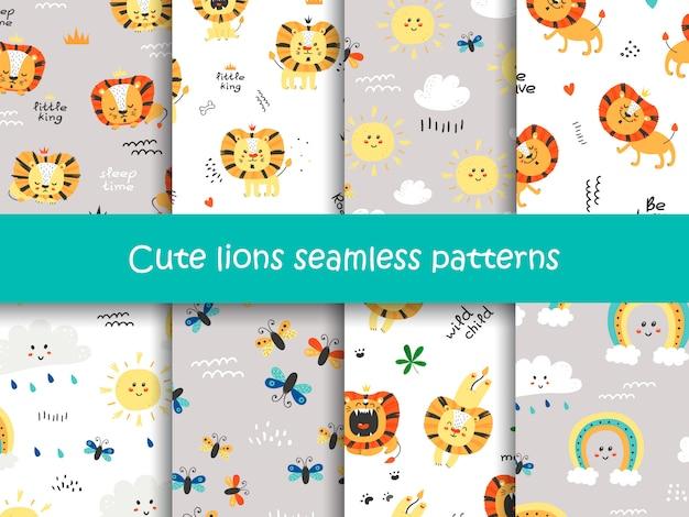 Conjunto de padrões sem emenda com leões fofos