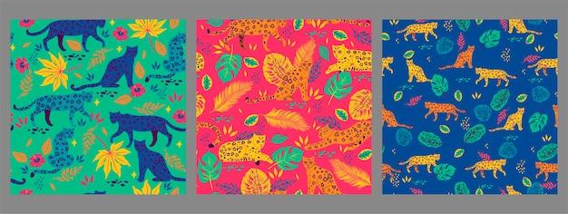 Conjunto de padrões sem emenda com leopardos e folhas tropicais