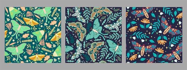 Conjunto de padrões sem emenda com mariposas.
