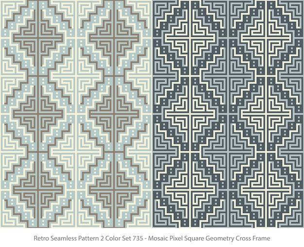 Conjunto de padrões sem emenda com moldura de geometria quadrada de pixel de mosaico