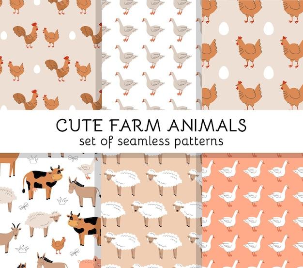 Conjunto de padrões sem emenda com pássaros e animais de fazenda fofos