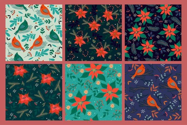 Conjunto de padrões sem emenda com pássaros e flora de inverno.
