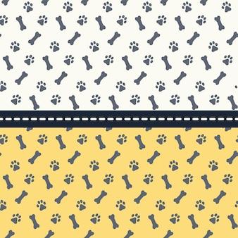 Conjunto de padrões sem emenda com patas e ossos. cães de pegadas. ilustração vetorial.