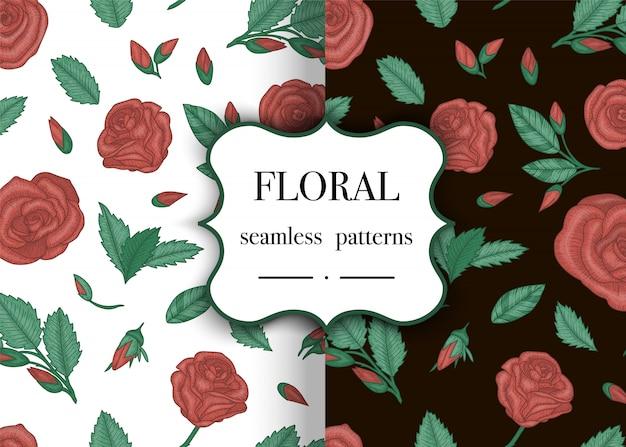 Conjunto de padrões sem emenda com rosas