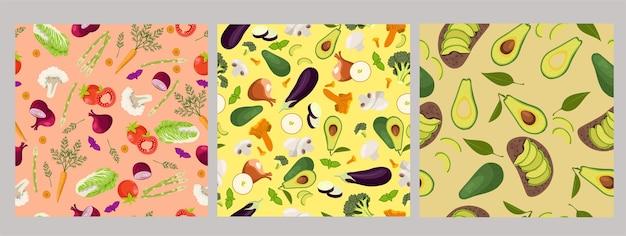 Conjunto de padrões sem emenda com vegetais