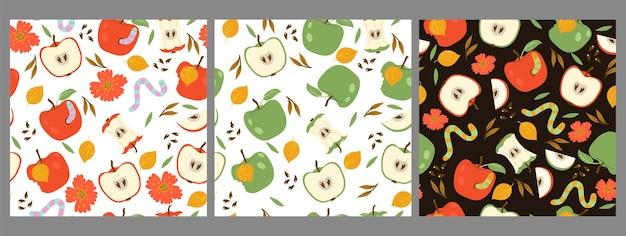 Conjunto de padrões sem emenda com vermes e maçãs vermelhas e verdes.