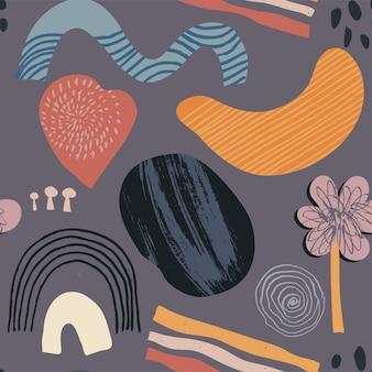 Conjunto de padrões sem emenda contemporâneos de colagem colorida de vetor