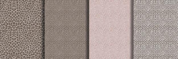 Conjunto de padrões sem emenda da moda leopardo para estampas têxteis