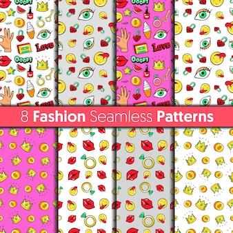 Conjunto de padrões sem emenda da moda