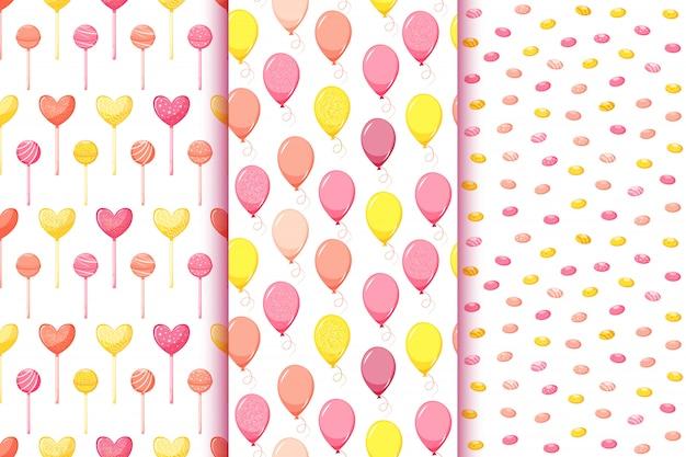 Conjunto de padrões sem emenda de aniversário com balões, caramelos, doces pirulito, ilustração do estilo dos desenhos animados