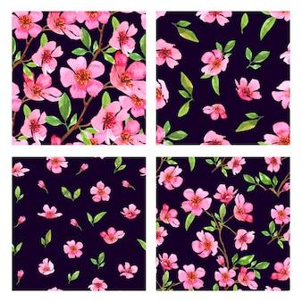 Conjunto de padrões sem emenda de aquarela flor de cerejeira. modelo floral linda primavera sakura. ilustração colorida sobre fundo preto.