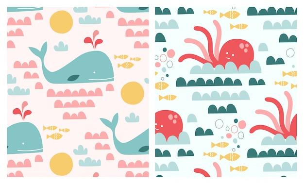 Conjunto de padrões sem emenda de baleia e polvo bonito