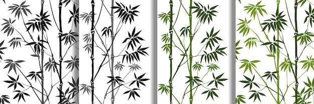 Conjunto de padrões sem emenda de bambu, papéis de parede tropicais, coleção de estampas de têxteis da natureza