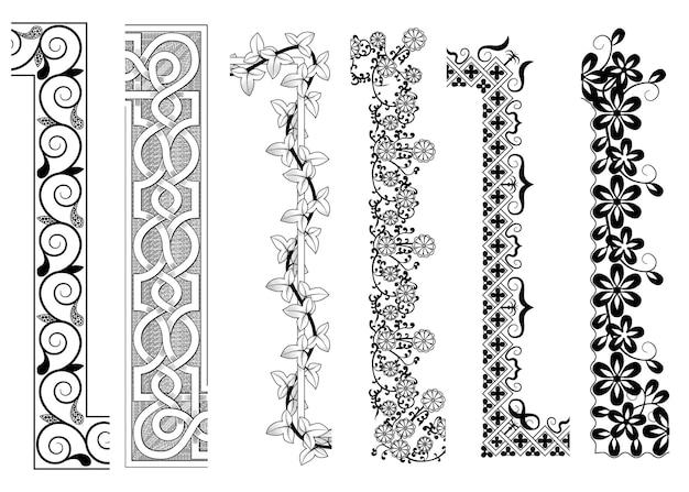 Conjunto de padrões sem emenda de borda ornamental com cantos internos e externos. adequado para pincéis de padrão vetorial. ilustração de estoque vetorial
