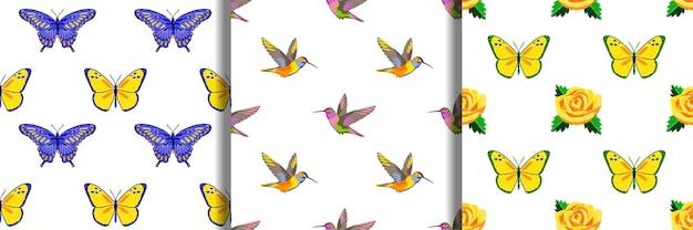 Conjunto de padrões sem emenda de bordado de beija-flor rosa e borboletas