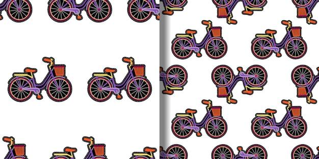 Conjunto de padrões sem emenda de bordado de bicicleta com cesta