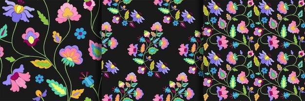 Conjunto de padrões sem emenda de bordado de flores de fantasia