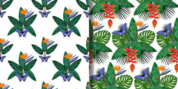 Conjunto de padrões sem emenda de buquê tropical