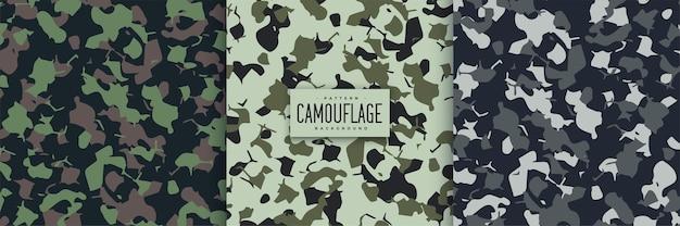 Conjunto de padrões sem emenda de camuflagem abstrata